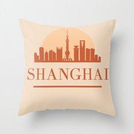 SHANGHAI CHINA CITY SKYLINE EARTH TONES Throw Pillow