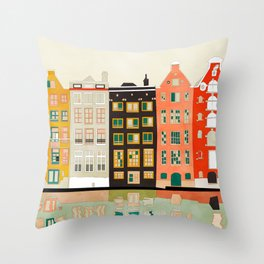 Travel europe city shape abstract art Throw Pillow