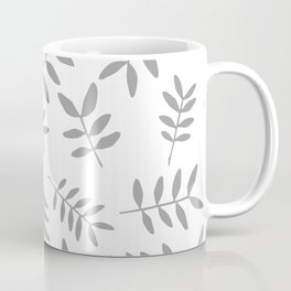 Gray branch silhouettes on white background Coffee Mug