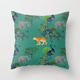 Peacock, tiger,elephant pattern green,blue background  Throw Pillow