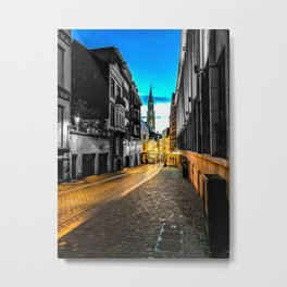 Brussels Path to the Grand Place Color/Black and White Mashup Metal Print
