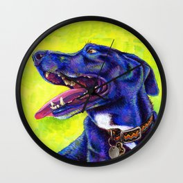 Jubilation - Colorful Black Labrador Wall Clock
