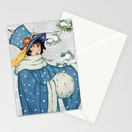 Blue Lady in the Snow / Vintage Postcard 1900s Stationery Cards