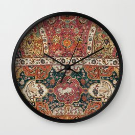 Persian Medallion Rug III // 16th Century Distressed Red Green Blue Flowery Colorful Ornate Pattern Wall Clock