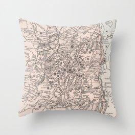 Vintage Map of The Adirondack Mountains (1901) Throw Pillow