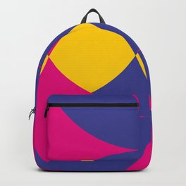 A lot of colored circles intersecting each others and forming eye shaped shapes. And a flower maybe. Backpack