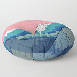 A small river in the mountains Floor Pillow