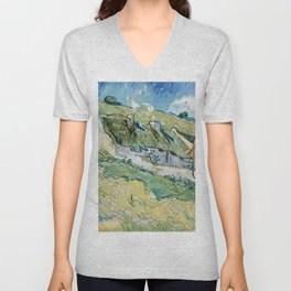 Thatched Cottages and Houses by Vincent van Gogh Unisex V-Neck