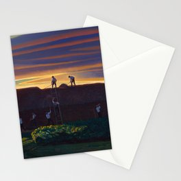 Dan Wards Hay Stack, Heartland Sunset landscape painting by Rockwell Kent Stationery Cards