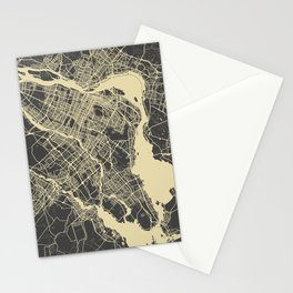 Montreal Map yellow Stationery Cards