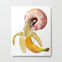 Chocolate Banana Donut Pink Sprinkles Metal Print