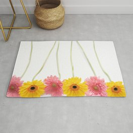 Colorful Pink and Yellow Gerbera Daisy Flowers Fine Art Photography Rug