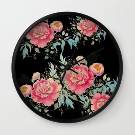 Gipsy paeonia in black Wall Clock