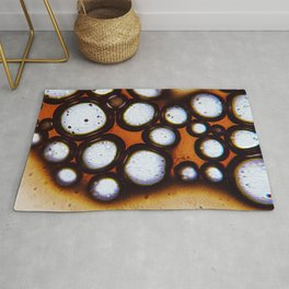 Coffee science. Microscopic abstract bubble pattern Rug