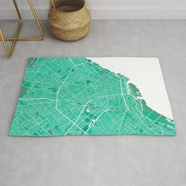 Buenos Aires City Map of Argentina - Watercolor Rug