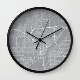 Toledo Map, Ohio USA - Pewter Wall Clock