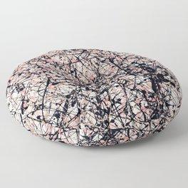 THREE BLUE ROSES - Jackson Pollock style art Floor Pillow