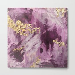 Pink, Purple and Gold Abstract Glam Metal Print