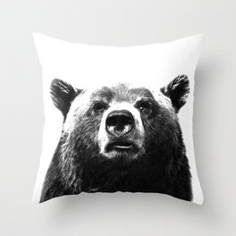 Black and white bear portrait Throw Pillow