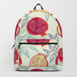 Pattern. Fresh red pomegranates. Backpack