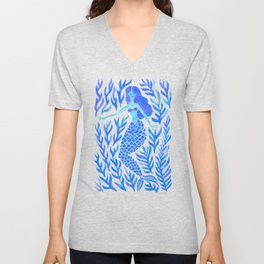 Kelp Forest Mermaid – Blue Palette Unisex V-Neck