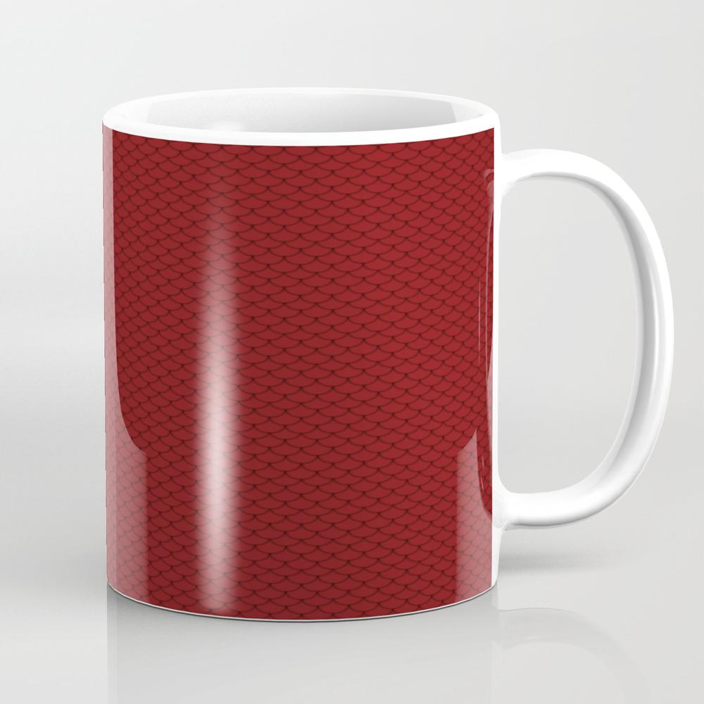 Maroon Red Scales Pattern Design Mug by Skylinesquirrel MUG7860204
