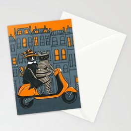Mummy and Witch Halloween Moped Ride Stationery Cards