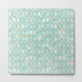 Luxury Aqua and Gold oriental pattern Metal Print
