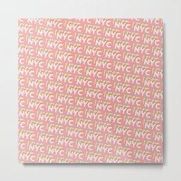 NYC, New York, USA Trendy Rainbow Text Pattern (Pink) Metal Print