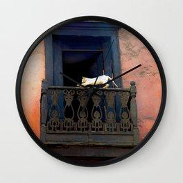 Cat in the Balcony Wall Clock