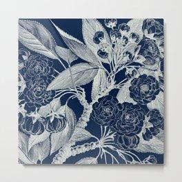 Floral, Roses, Vintage Print, Navy Blue Metal Print