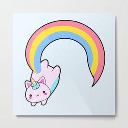 Kawaii proud rainbow cattycorn Metal Print