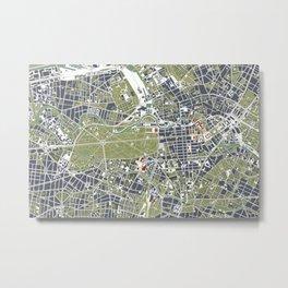 Berlin city map engraving Metal Print