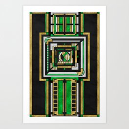 Tapestry: Emerald & Gold - Art Deco Drawing Art Print