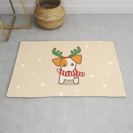 Jack Russell Terrier with Reindeer Antlers on snowy background Illustration Rug