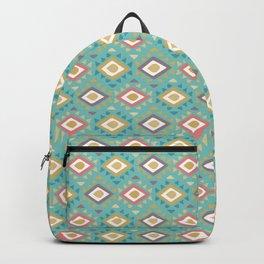 Vintage geometrical teal yellow orange green triangles tribal pattern Backpack