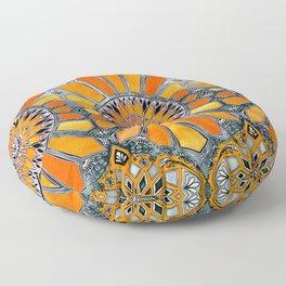 Celebrating the 70's - tangerine orange watercolor on grey Floor Pillow