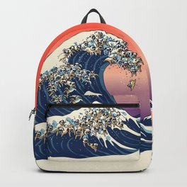 The Great Wave of Pug Backpack