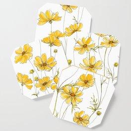 Yellow Cosmos Flowers Coaster
