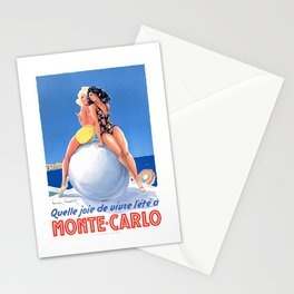 1948 Monte Carlo Bathing Beauties Monaco Travel Poster Stationery Cards