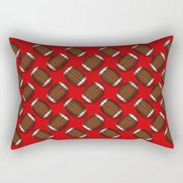 Sporty Footballs Design on Red Rectangular Pillow