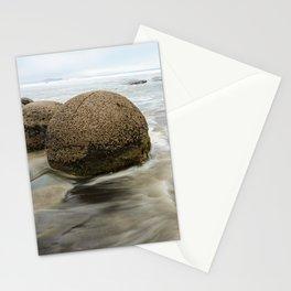 Impressive Moeraki boulders in the blurred Pacific Ocean waves Stationery Cards