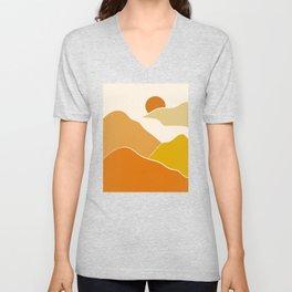 Orange minimal landscape Unisex V-Neck