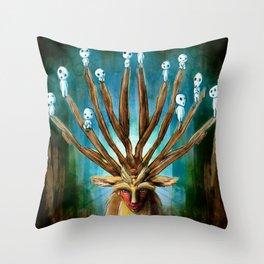 Princess Mononoke The Deer God Shishigami Tra Digital Painting. Throw Pillow
