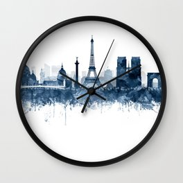 Paris City Skyline Watercolor Blue by zouzounioart Wall Clock