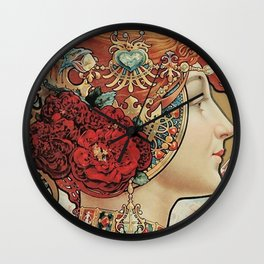 Lady With Flowers - Alphonse Mucha Wall Clock