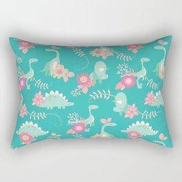 Floralsaur - Pink & Blue Rectangular Pillow