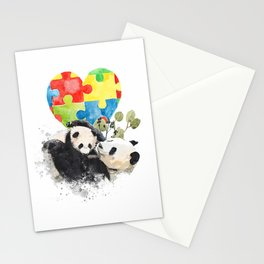 Autism Awareness Mommy Panda Bear with Baby Puzzle Heart T-Shirt Stationery Cards