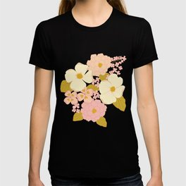 Pink Pastel Vintage Floral Pattern T-Shirt