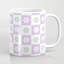Groovy Minimalist Checkerboard Flowers in Lilac and Sage Green Coffee Mug